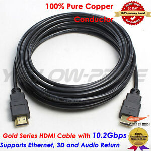 15FT-4-6M-GOLD-HDMI-V1-4-Cable-1080p-3D-Super-High-speed-15-FT-4-6-Meters