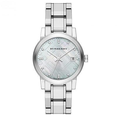 Nuevo Burberry BU9125 Mujer Mediano Diamante Cuadros Grabado Reloj - 2 Años