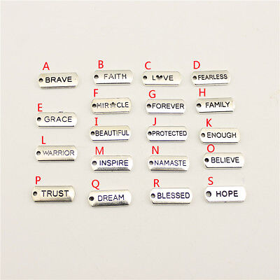 15Pcs Old Silver Trust Hope Blessed Tag Charms For Diy Craft Jewelry Findings