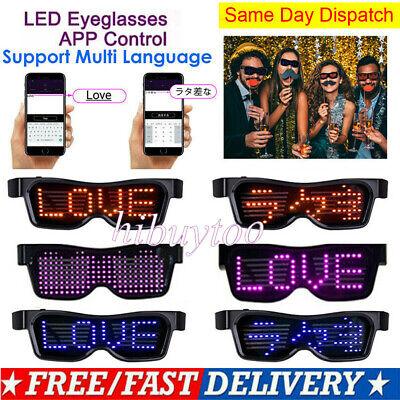 APP DIY Bluetooth LED Glasses Lightup Glowing Flashing Party Nightclub Disco (Fun Party Glasses)