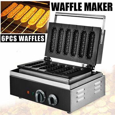 Commercial Non-stick Waffle Muffin Maker 6pcs French Hot Dog Making Machine