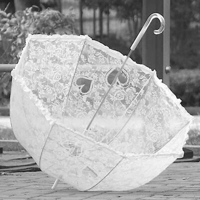 Paraguas de novia blanco corazones y encaje automatico