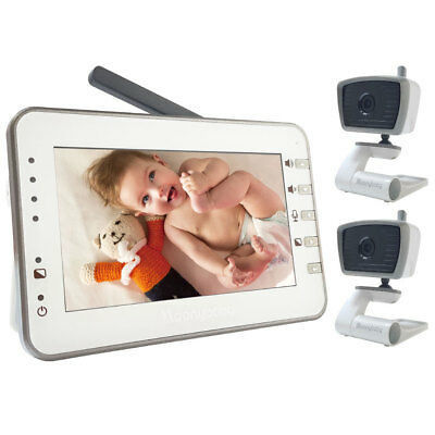 """[Refurbished] MoonyBaby Digital 4.3"""" Large LCD Video Baby Monitor with 2 Cameras"""