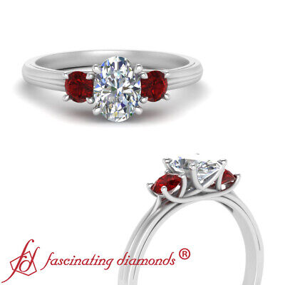 3 Stone Oval Shaped FLAWLESS Diamond And Ruby Gemstone Engagement Ring 0.90 Ctw