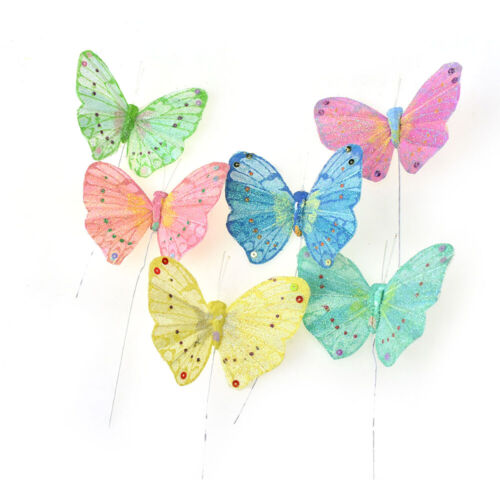 Glittery Butterfly Floral Accents, 3-Inch, 12-Piece