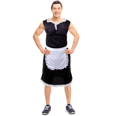 French Man Halloween Costume (Busty French Maid Men's Halloween Costume - Funny Apron Uniform)
