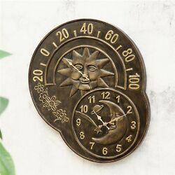 Sun Moon Wall Clock And Thermometer Celestial Art Garden Decor 33761 SPI Home