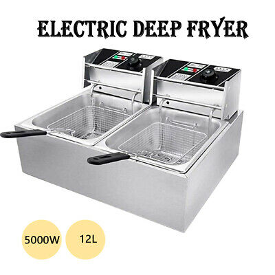 Us 12l 5000w Electric Deep Fryer Dual Tank Commercial Restaurant Stainless Steel