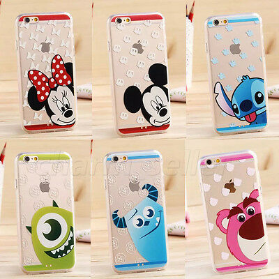 Cute Disney Cartoon Crystal Soft TPU Rubber Clear Case Cover F iPhone 6 6 Plus 5