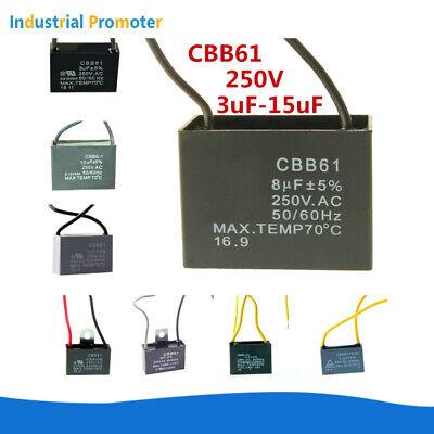 CBB61 3uF-15uF Ceiling Fan Motor Capacitor 2 Wire 250V AC 50/60Hz 1/2/5PCS
