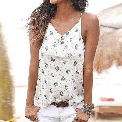 Women Flower Sling V Collar Vest  Sleeveless Print Tank Tops Blouse T-shirt