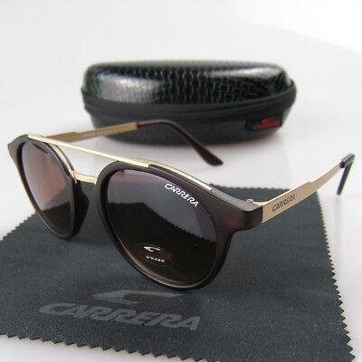 New Men Women Retro Sunglasses Round Matte Brown,Black Frame Carrera (Brown Round Glasses)