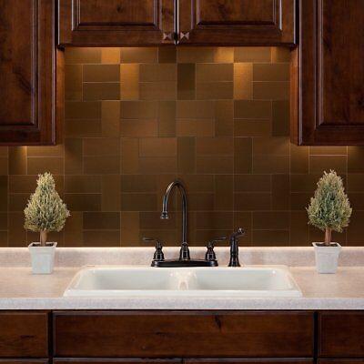 Peel And Stick Tile Bronze Self Adhesive Metal Accent Wall Kitchen Backsplash ()