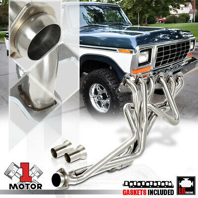 SS Long Tube Exhaust Header Manifold for 65-89 F100/F150/F250/F350 3.9/4.9 RWD ()