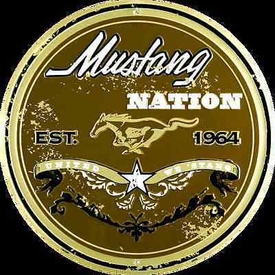 "MUSTANG NATION UNITED WE STAND 12"" ROUND METAL RETRO SIGN FORD PONY LOGO GT 1964"