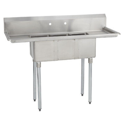 3 Three Compartment Commercial Stainless Steel Sink 54 X 19.8 G