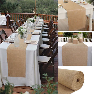 Natural Burlap Jute Table Runner Linen Rustic Wedding Banquet Party Table Decor](Burlap Wedding Decor)