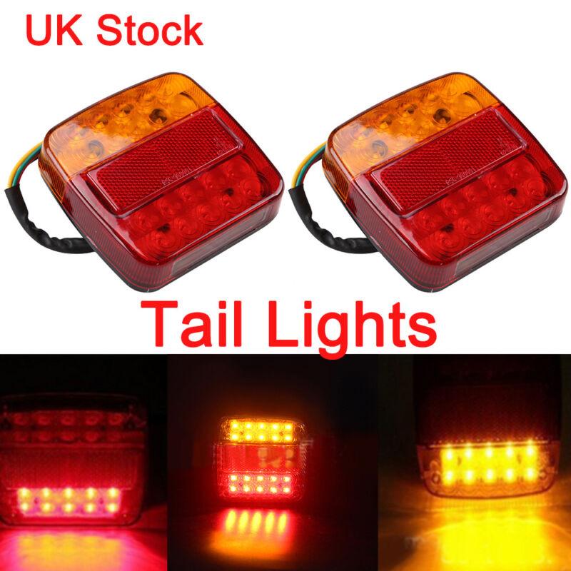 Car Parts - 2Pc 20 LED TRAILER REAR TAIL LIGHTS MULTI-FUNCTION CARAVAN TRUCK VAN LAMP 12V