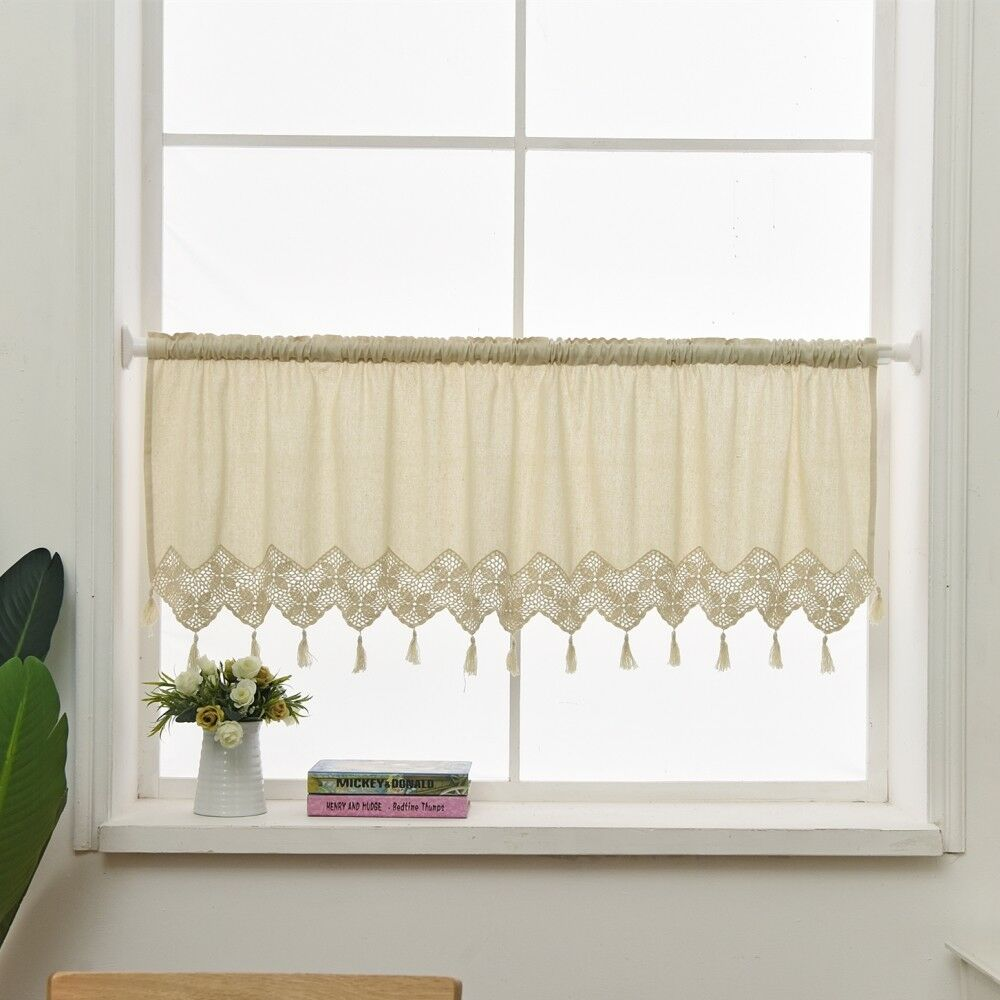 Dining Room Curtains To Create New Atmosphere In Perfect: Handmade Kitchen Curtain Cotton Linen Window Curtain