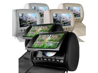"""2 x 9"""" HD Car Headrest Screens with Built-In DVD USD SD Player & Free Games"""