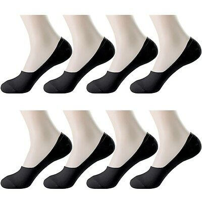 8 Pairs Mens Black Solid Casual Nonslip heel Loafer Liner No Show Cotton Socks