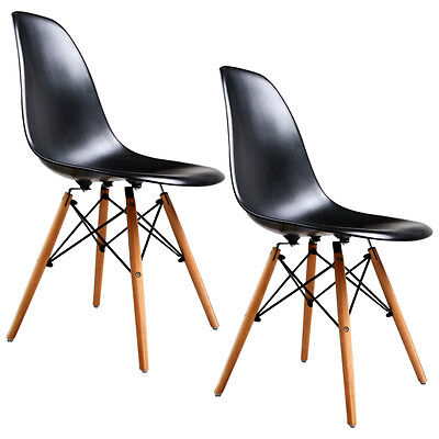 Set Of 2 Mid Century Eames Style Dsw Dining Side Chairs With Wood Legs Black