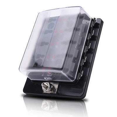 10-Way Off-road ATC/ATO Blade Fuse Block Box Holder LED Terminals Circuit Car