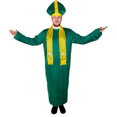 MENS IRISH PRIEST COSTUME GREEN ST SAINT PATRICK'S DAY BISHOP VICAR FANCY - Saint Patricks Day Kostüm