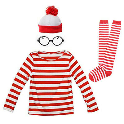 Halloween Costume Ladies Striped Shirt Hat Glasses Stockings Fancy Dress Outfit (Striped Dress Costume)