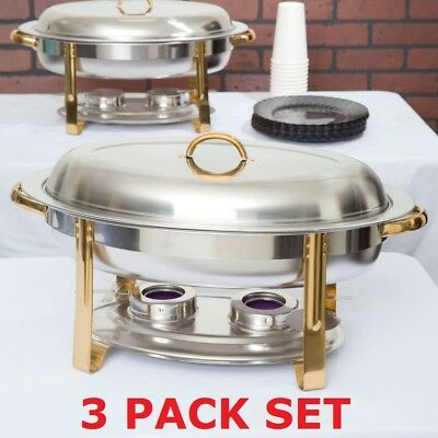 3 Pack Set Stainless Steel Choice Deluxe Buffet 6 Qt Oval Gold Accent Chafer