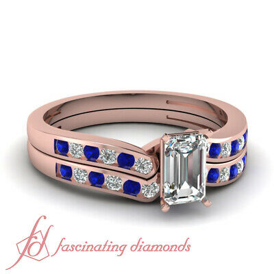 3/4 Carat Rose Gold Blue Sapphire Wedding Rings Set With Emerald Cut Diamond GIA