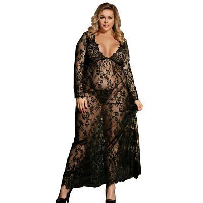 Sexy Kleid Erotische Langarm Kostüme Babydoll Dessous Plus Size Nachtwäsche