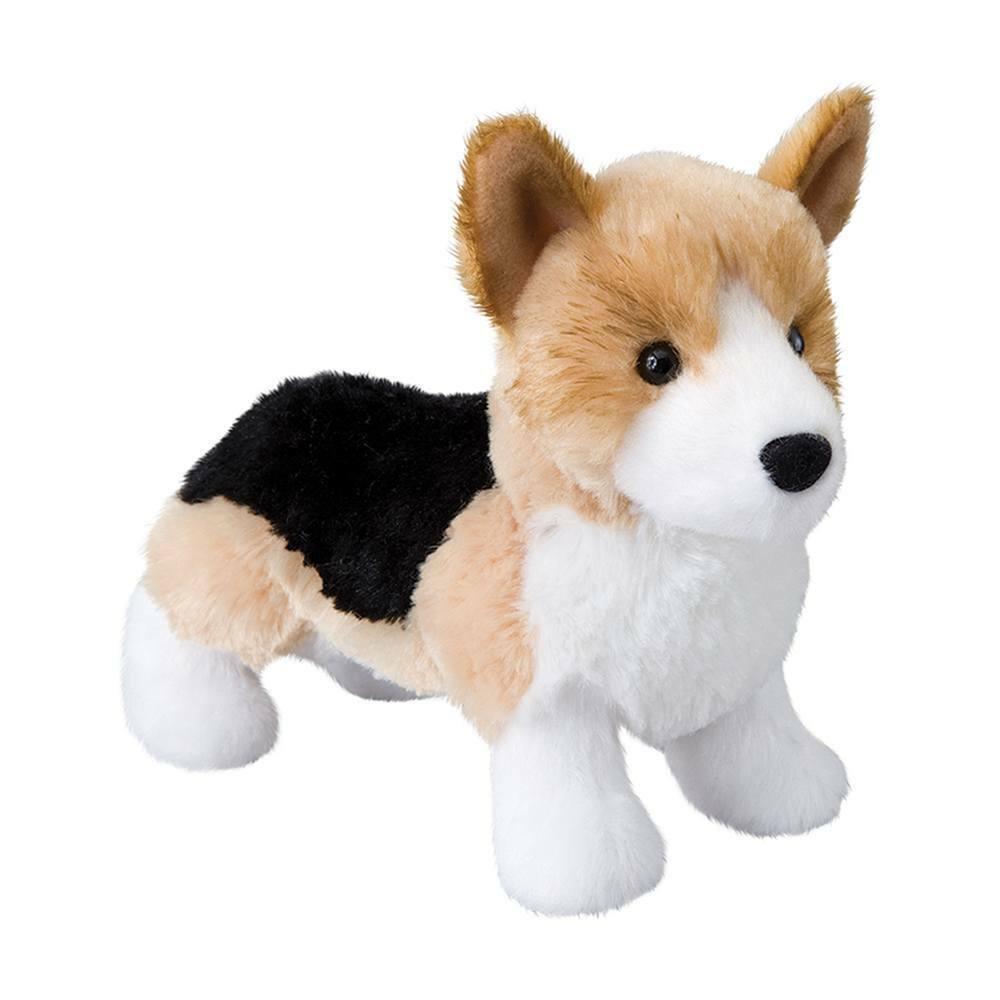 """SHORTY Douglas 7.5"""" long plush TRI-COLOR CORGI DOG stuffed a"""