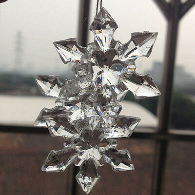 10PCS Clear Crystal Snowflake Xmas Ornament Gift Wedding Hanging Party - Snowflake Decor