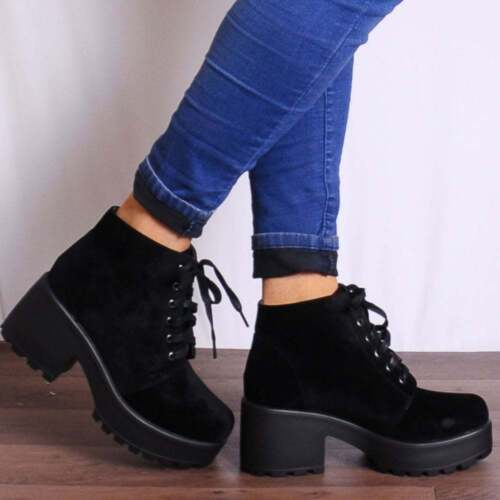 BLACK LACE UPS CHUNKY FASHION CLEATED PLATFORMS WEDGED ANKLE
