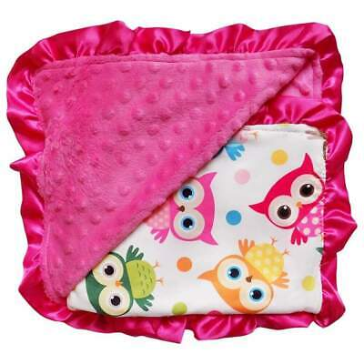 Wise Owl Hot Pink Minky Dot Blanket / Baby Toddler Infant Cute Soft Crib Fleece Pink Minky Blanket