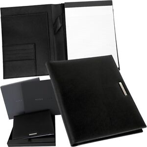 hugo boss a5 porte documents meetingmappe bloc notes pochette cuir ebay. Black Bedroom Furniture Sets. Home Design Ideas