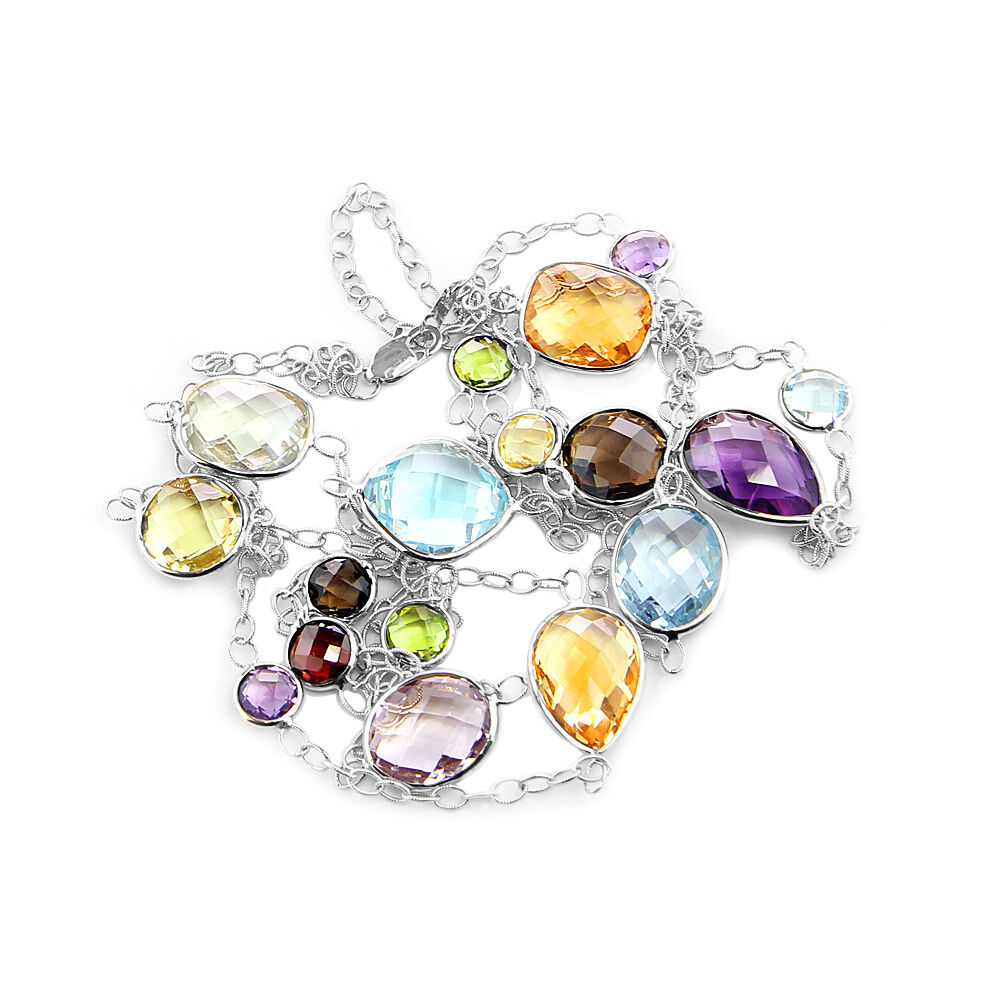 14k white gold fancy cut multi color gemstones necklace 36