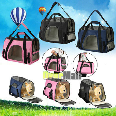 - Pet Carrier Soft Sided Large Cat/Dog Comfort Travel Bag Oxford Airline Approved