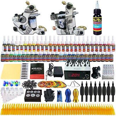 Complete Kit Set 2 Tattoo Machine Gun 54 Ink Power Supply Needles Grip Tk252