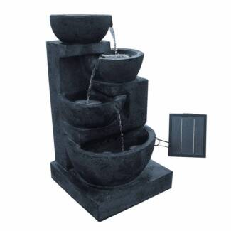 Solar Power Four-Tier Water Fountain Feature w/ LED Light Blue