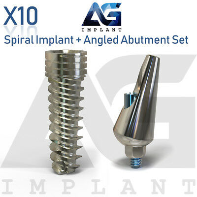 10 Spiral Implant With Angular Abutment Set For Dental Implant Internal Hex