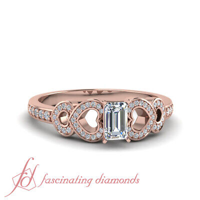 Emerald Cut Diamond Rose Gold Pave Engagement Ring With Round Accents 0.85 Ctw