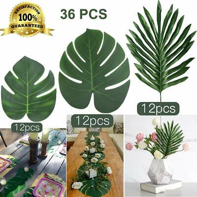 36 Pcs Artificial Palm Leaves Tropical Fake Plant Faux Party Garden Decoration](Fake Palm Leaves)