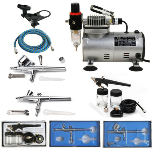 portable 3 airbrush compressor kit dual action