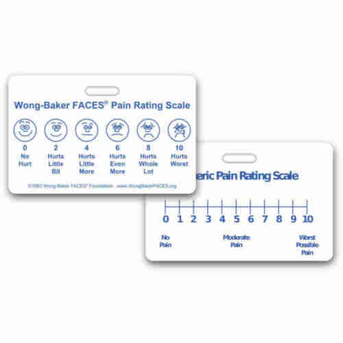Wong-Baker FACES® Pain Rating Scale Horz w/ NRS RN EMT Paramedic MA MD Medic PA