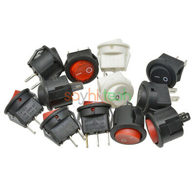 Round Rocker Switch Toggle Switch Red White Black ON/OFF LED Light 3A 250V 15mm