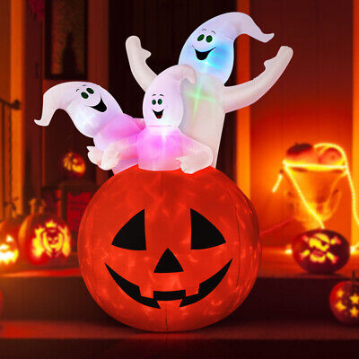 6 Ft Halloween Blow-up Inflatable Ghost Pumpkin LED Bulb Spooky Yard Decoration