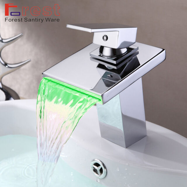 Modern LED Colour Changing Chrome Bathroom Waterfall Faucet Basin Sink MixerTaps
