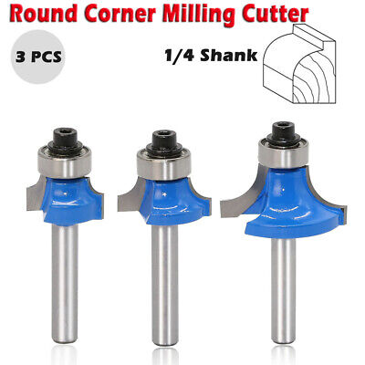 3pcs Professional Round 14 Trimming Cutter Router Bit Milling Trim Wood Tool